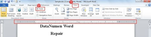 how to show the ruler in word 2016