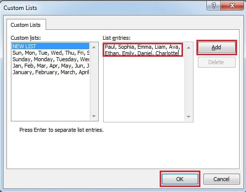 Input Custom List