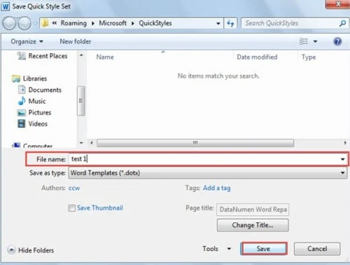 how to change default save type of word document