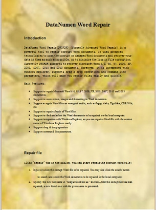 A Page of Word Document with Background Color and Image
