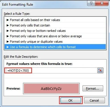 NOT Formula