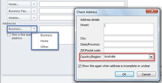 Wrong Country for Addresses