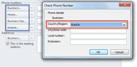 Wrong Country for Phone Numbers