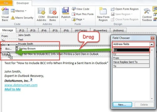 how to include bcc info when printing a sent email in outlook data