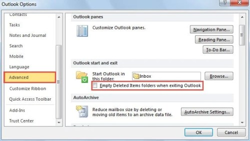 Empty Deleted Items Folder When Exiting Outlook