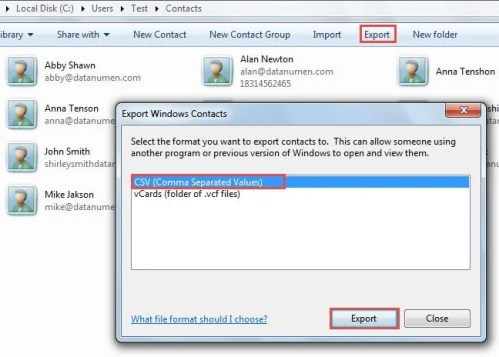 how to create a csv file to import contacts