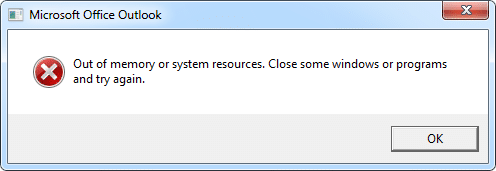 Outlook Error: Out of memory or system resources