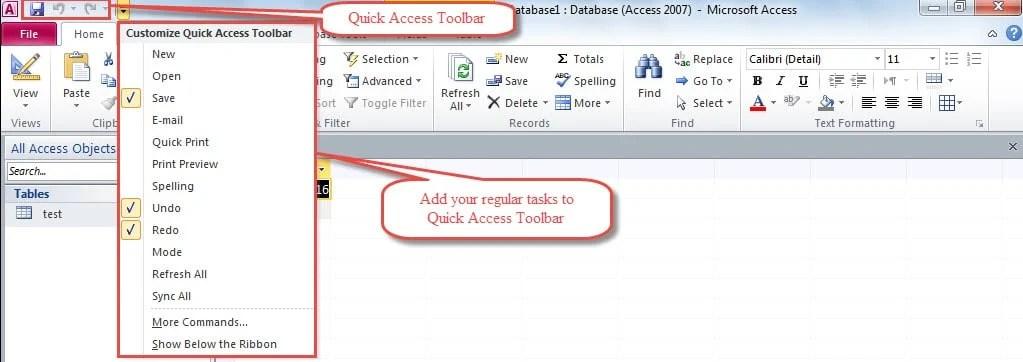 Add Regular Tasks To Quick Access Toolbar