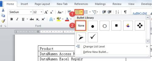 "Click ""Bullets"" ->Choose ""None"" in ""Bullet Library"""