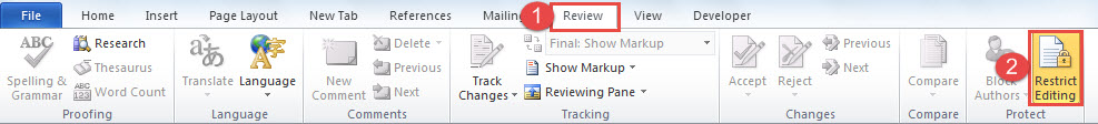 "Click ""Review"" ->Click ""Restrict Editing"""