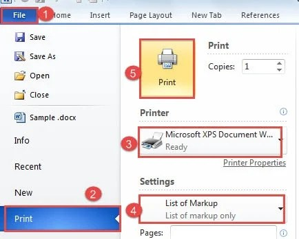 "Click ""File"" ->Click ""Print"" ->Choose ""Microsoft XPS Document Writer"" for ""Printer"" ->Choose ""List of Markup"" in ""Settings"" ->Click ""Print"""