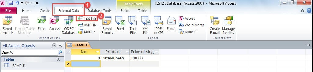 Click On The External Data Tab Then Text File