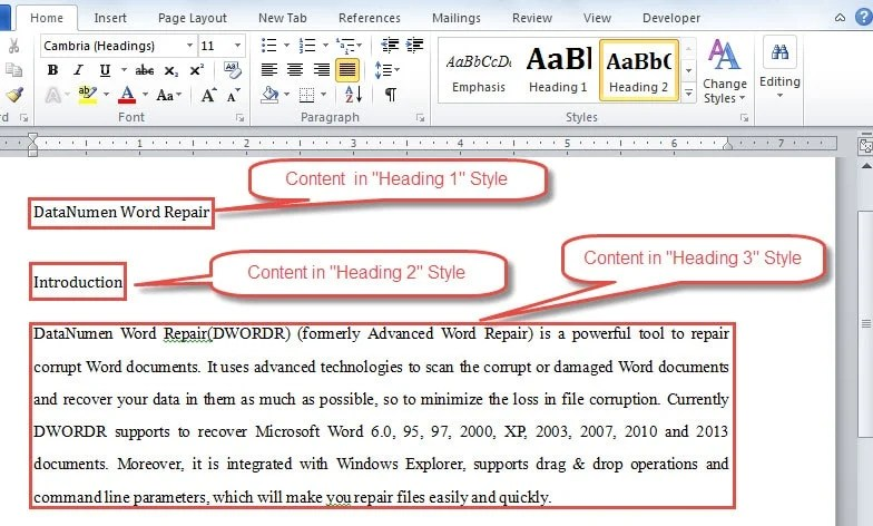Example of Setting Word Content in Heading Styles