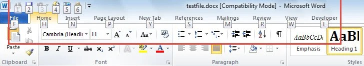 "Press ""Alt"" to See a Number or a Letter is Assigned to each Command or Tab"