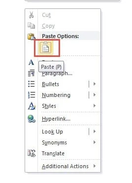 "Right Click on Document -> Choose ""Paste (P)"""