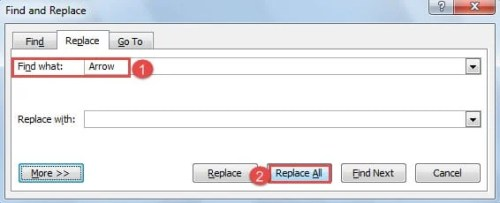 """Type the Repeating Word in """"Find what"""" Text Box -> Click """"Replace All"""""""