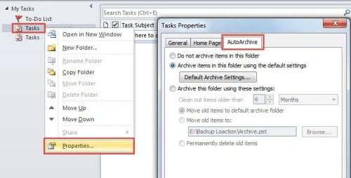 Auto Archive a Task Folder