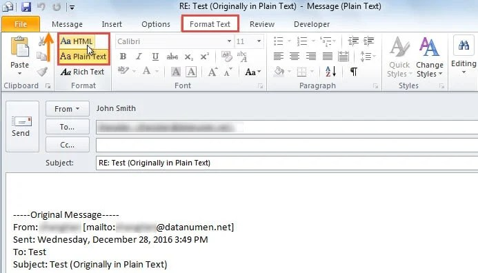 How to open outlook message in html