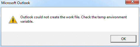Error: Outlook could not create the work file
