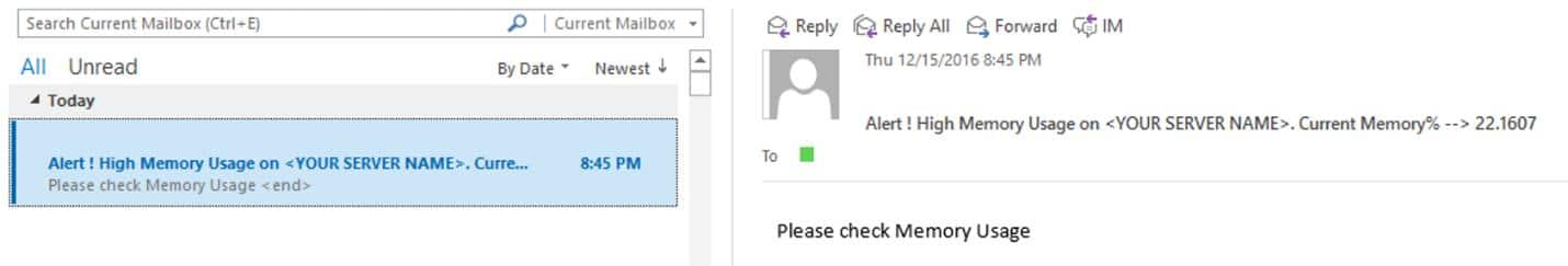 Email Alerts Of Memory Usage