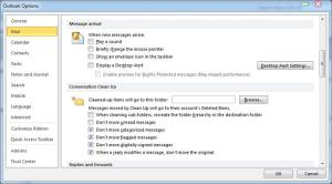 Outlook Message Arrival Options