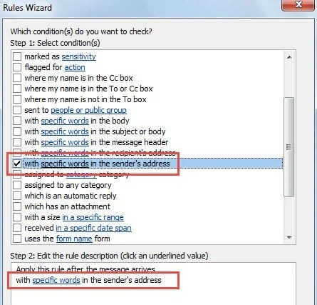 Outlook Rule: with specific words in sender's address
