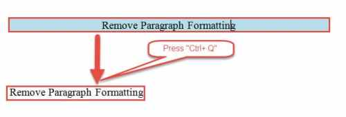 "Press ""Ctrl+ Q"" to Remove Paragraph Formatting"