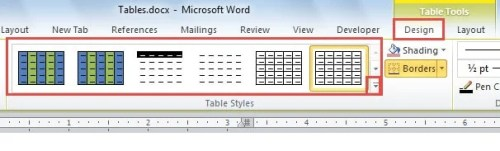 """Click """"Design""""->Choose a Table Style"""