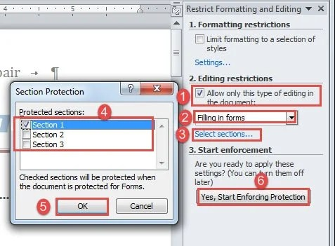 word restrict editing section