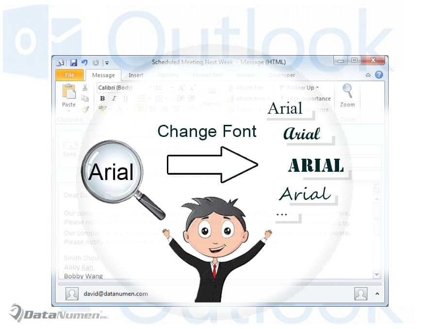 Replace the Font of Specific Text in an Outlook Email