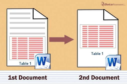 Extract Tables from One Word Document to Another