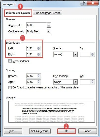 how to change paragraph indent in word