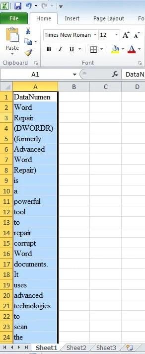Word list in Excel sheet