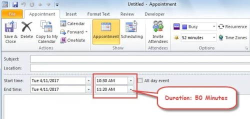 2 Methods to Change the Default Duration of Appointment and