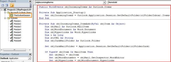 VBA Code - Auto Move the Incoming Emails with Specific Hyperlinks to Junk E-mail Folder