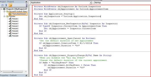 VBA Codes - Change the Default Duration of Appointment and Meeting
