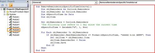 VBA Codes - Batch Remove All Reminders in a Specific Time Interval