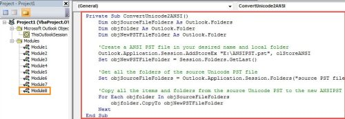 How to Convert Unicode PST to ANSI PST File via Outlook VBA