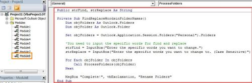 VBA Code - Batch Find & Replace Specific Words in All Outlook Folder Names