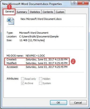 how to change the date modified on a word document