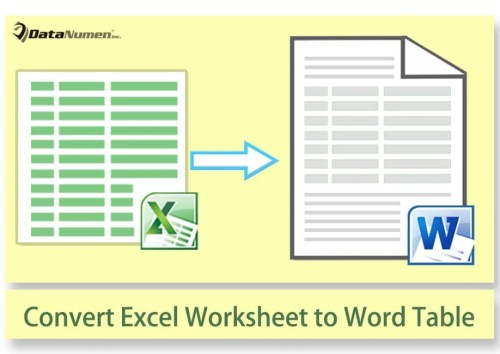 Convert Excel Worksheet to Native Word Table