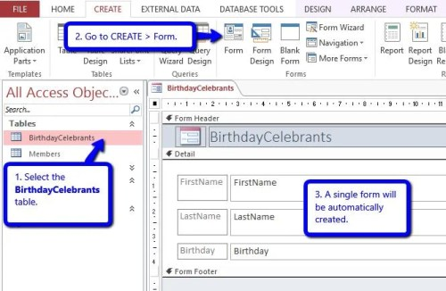 how to add birthday reminders in your access database data