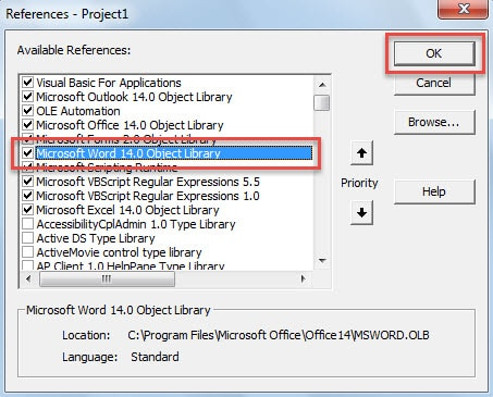 "Enable ""Microsoft Word Object"""