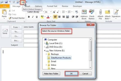 Select a source Windows folder