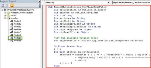 VBA Code - Batch Export the Details of Multiple Outlook Notes into a Plain Text File