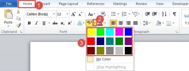 "Click ""Home""->Click Drop-down Button on ""Text Highlight Color"" Command->Choose a Color"