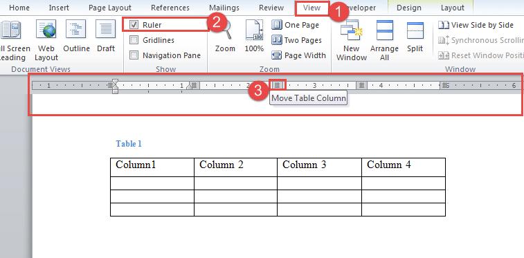 "Click ""View""->Check ""Ruler"" Box->Adjust Column Width"