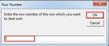"""Enter Row Number->Click """"OK"""""""