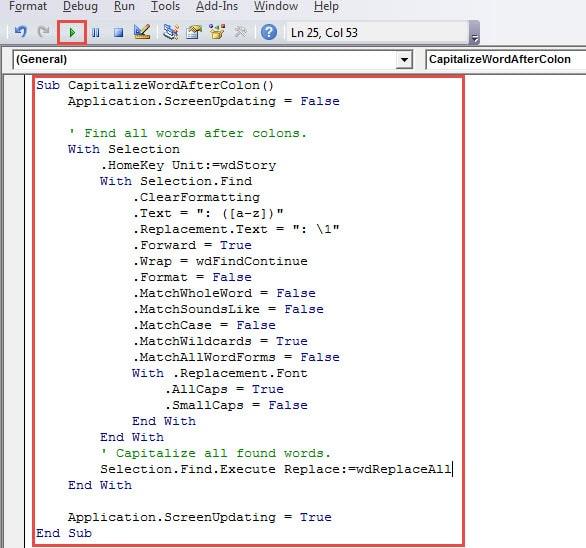 application.screenupdating = true word