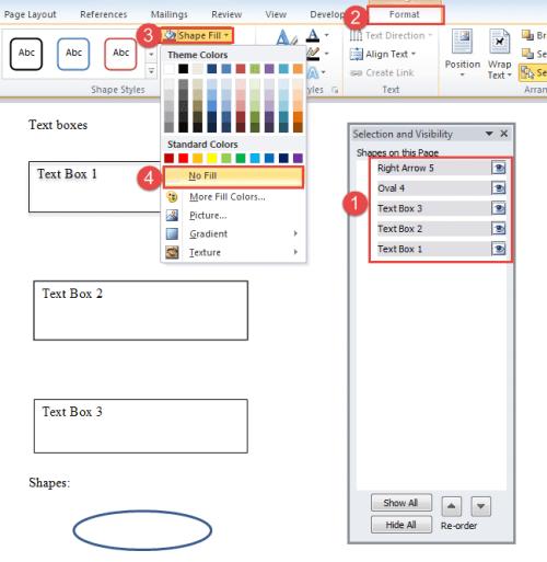"""Select Shapes->Click """"Format""""->Click """"Shape Fill""""->Choose """"No Fill"""""""